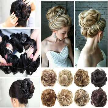 1Pcs Real Natural Curly Messy Bun Hair Piece Scrunchie New Thick Hair Extensions