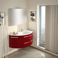 LaToscana Ambra 38 in. Wall Mounted Bathroom Vanity Left Round Cabinet Set Bath Furniture