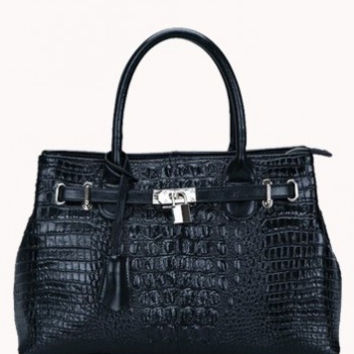 Garbo Croc Leather Bag Black