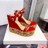 Christian Louboutin CL Pyraclou 11cm Wedges Style #37 - Best Online Sale
