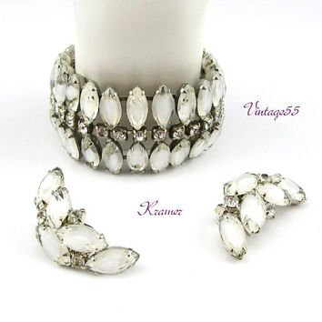 Kramer Bracelet Earrings Frosted White Givre Rhinestones Silver tone