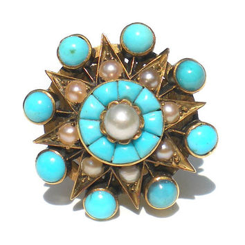 Victorian Turquoise and Pearl Ring Star Design on 15k Gold with Ring Guard Size 5 Antique Jewelry