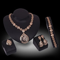 Gold Rhinestone Water Drop Design and Cut Out Jewelry Set