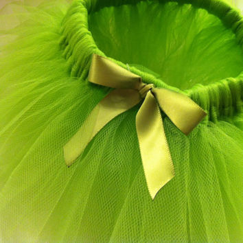 Lime Green Tutu with matching bow embelishment - 0-3 Months - 3-6 Months - Baby Girls - Baby shower gift -