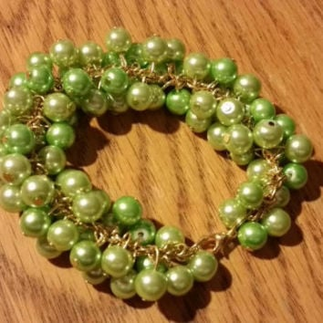 Chunky Pearl Bracelet in Shades of Greens Lime Graduation Gift Present Birthday