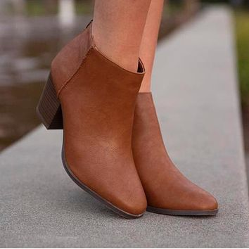 Avalon Closed Toe Booties in Camel