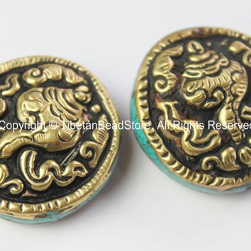 2 BEADS - Big Repousse Carved Brass Auspicious Conch Round Disc Shape Tibetan Bead with Turquoise Side Inlays - Tibetan Beads - B2430-2