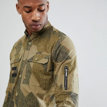 Only & Sons Slim Fit Shirt With All Over Print And Military Pockets at asos.com