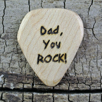 """ONE Engraved Wooden Guitar Pick - """"Dad, You ROCK!"""" Design or Other Designs Available - Father's Day Gift - Wood Guitar Pick"""