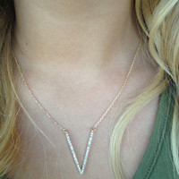 "Gold ""V"" Crystals Necklace Set"