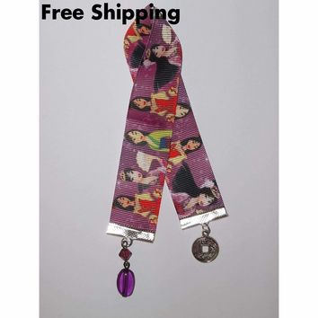 Mulan Themed Hand Crafted Bookmark w/ Chinese Coin and Purple Bead Dangles