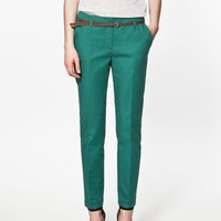 Pencil Casual  Women Pants With Belt