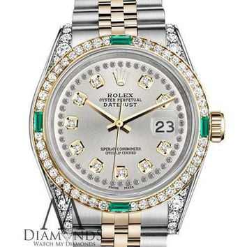 Unisex Rolex SS & Gold 36mm Datejust Silver String Emerald Diamond Dial Watch