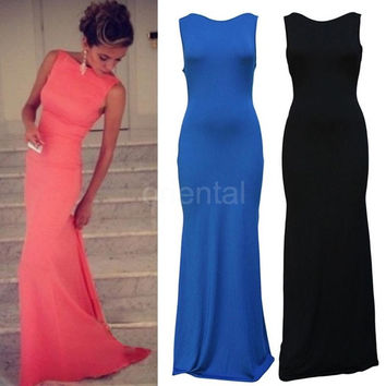 New Sexy Women Maxi Dress Casual Asymmetric Hem Sleeveless Evening Party Nightclub Long Dress G0915|26201 = 1955588164