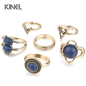 2017 New 6pcs/Set Vintage  Knuckle Rings For Women Fashion Bohemia Jewelry Tribal Ethnic Beach Ring Sets