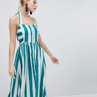 Boohoo Halterneck Striped Midi Dress at asos.com