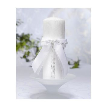 White Beaded Bow Palm Wax Pillar Candle