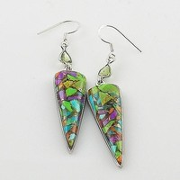 Peridot & Multi-Turquoise Sterling Silver Earrings