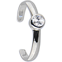 Sterling Silver 925 Cubic Zirconia Glamour Solitaire Toe Ring | Body Candy Body Jewelry