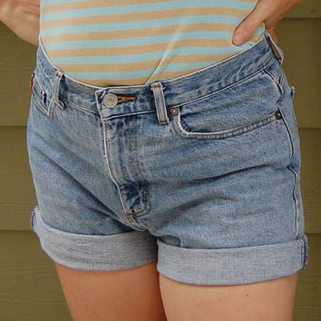 Vintage 80s 90s Georges Marciano Guess Jeans Stonewash High Waisted Jean Shorts Size 29 /// 32 Waist