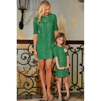 Turquoise Green Crochet Lace Half Sleeve Party Mother Daughter Dress