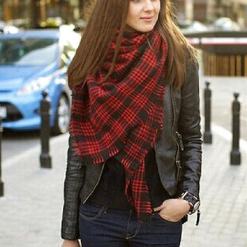 Blanket Scarf-Red