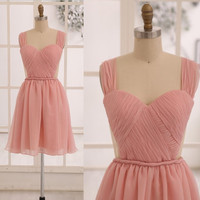 Blush Pink Chiffon Bridesmaid dress/Prom Dress See Through Backless Dress in Knee Short Length