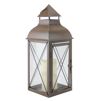 """16.75"""" Cottage Style Metallic Brown Lantern with Flameless LED Pillar Candle"""