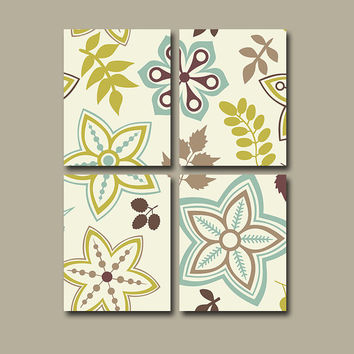 Flourish Wall Art Canvas Pottery Choose Colors Bedroom Decor Blue Beige Tan Green Flower Floral Set of 4 Prints Bathroom Decor Bedding