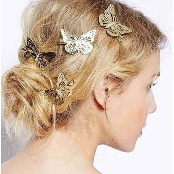 Beautiful Boho Gold Butterfly Hair Clips Wedding Hair