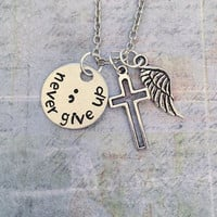 Never Give Up Semicolon Necklace , Suicide Awareness Jewelry, Awareness Jewelry, Suicide Silence Jewelry, Suicide Prevention Jewelry