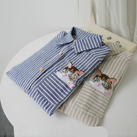 Blue Cat Embroidered Striped Shirt