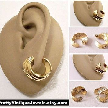 Monet Crescent Ribbed Clip On or Pierced Post Stud Earrings Gold Tone Vintage Open End Round Swirl Lined Buttons