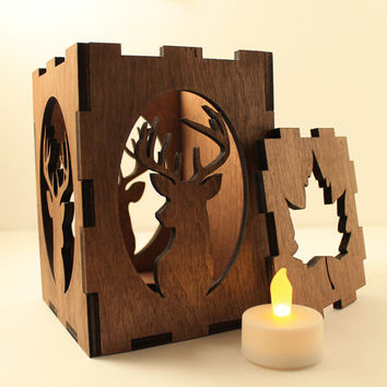 Deer tealight lantern Wood candle holder Shadow box Led flameless candle Laser cut candleholder Led light Night light Wood light Deer decor