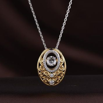 Bronze Plated Vintage Swarovski Crystal Oval Necklace 42bc2de80d