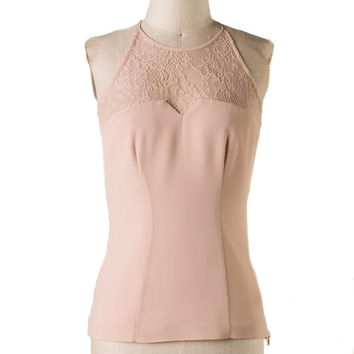 The Sweetest Thing Lace Panel Top - Almond