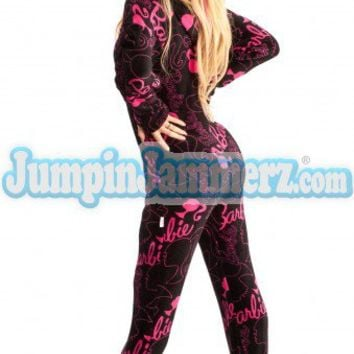 Barbie - Hot Pink - Barbie Footed Pajamas - Pajamas Footie PJs Onesuit One Piece Adult Pajamas - JumpinJammerz.com