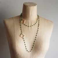 Turquoise  Long Rope Necklace