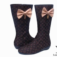 Fashion Online Lv Louis Vuitton Fashion Bow Leather High Boot Shoes