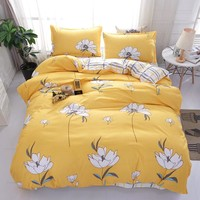 White flowers and yellow grid patterns bedding sets twin full queen king size Good quality duvet cover sets bed sheet pillowcase