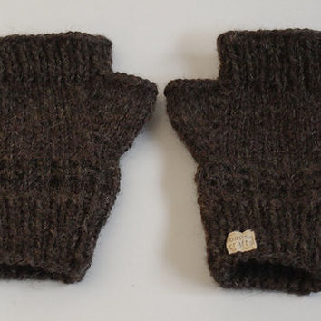 one of a kind knit fingerless mittens -- the condyle pure wool wristwarmers in warm brown