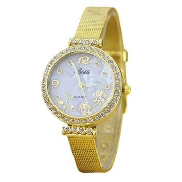 Women's Gold Tone Fine Belt Crystal  Flower Pattern Alloy Quartz Watch