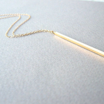 Gold Bar Necklace Long Bar Necklace, Long Gold Necklace, Long Vertical Bar Necklace, Gold Layer Necklace, Bar Necklace, Bar Pendant Necklace