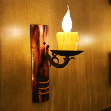 Hot Vintage Retro Handmade Creative Bamboo Iron Led E14 Candle Wall Lamp For Living Room Aisle Bar Entrance Deco H 30Cm 1125