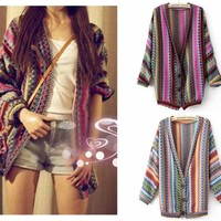 Boho Ethnic Colorful Wave Stripe Knit Top Blouse Sweater Cardigan Coat Outwear
