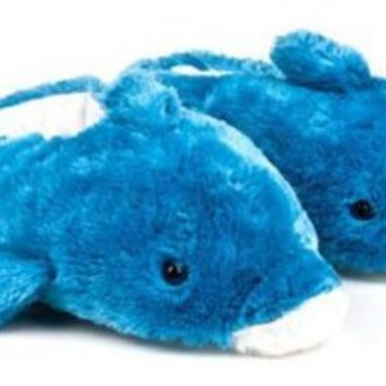 Wishpets Adult M Blue Dolphin Slippers