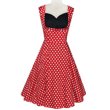 2015 Hepburn style vintage dots slim sleeveless 50s dress prom party casual dress