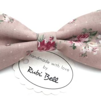 Bow Tie - floral bow tie - wedding bow tie - pale pink bow tie with pink floral pattern - grooms bow tie