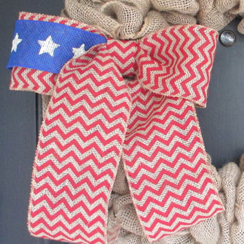 Flag Themed Red Chevron Burlap Bow, Patriotic Wreath Floral Bow, Independence Day 4th of July, Celebration, Party, School, Home