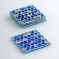 Cobalt Blue Glass Mosaic Coaster Set on Sale